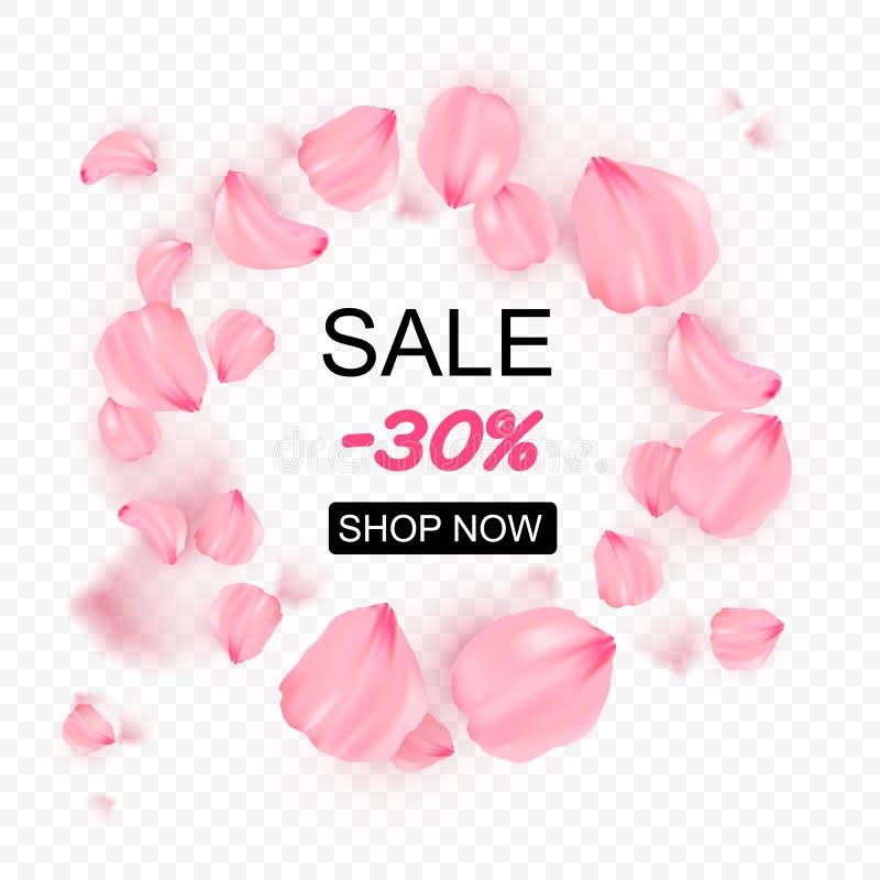 Pétalos que caen rosados de Sakura en fondo del vector del círculo ejemplo rom?ntico 3D stock de ilustración