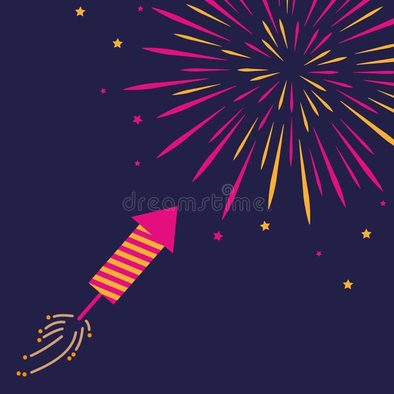 Pétard et feu d'artifice dans le rose foncé de ciel et de couleur orange illustration de vecteur