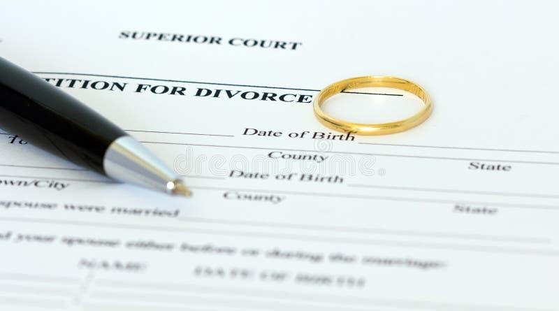 Pétition pour le papier de divorce images stock