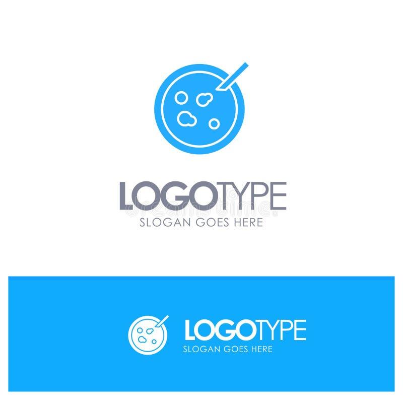 Pétri, piatto, analisi, logo solido blu medico con il posto per il tagline illustrazione vettoriale