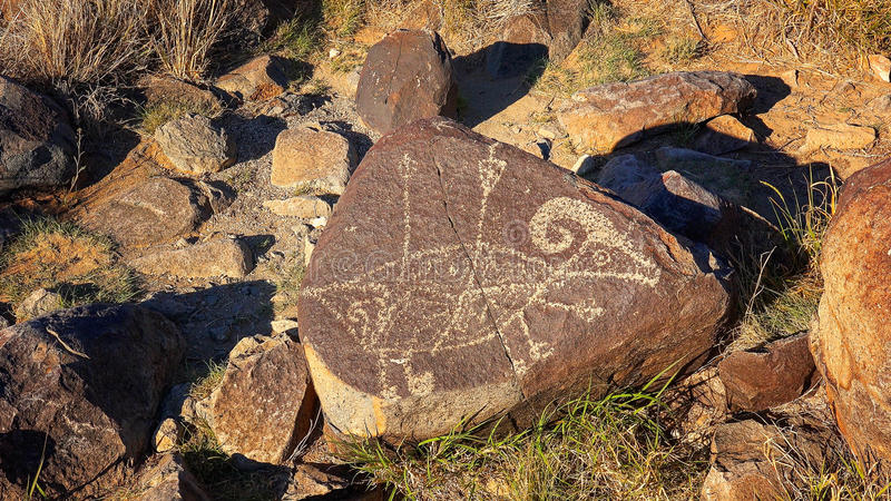Pétroglyphe au site de pétroglyphe de trois rivières au Nouveau Mexique, Etats-Unis photos libres de droits