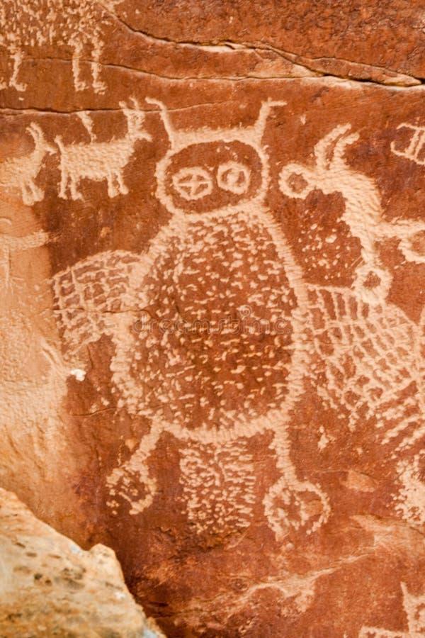 Pétroglyphe indienne antique images libres de droits