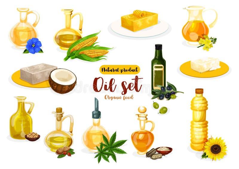 Pétrole, beurre et margarine naturels illustration stock