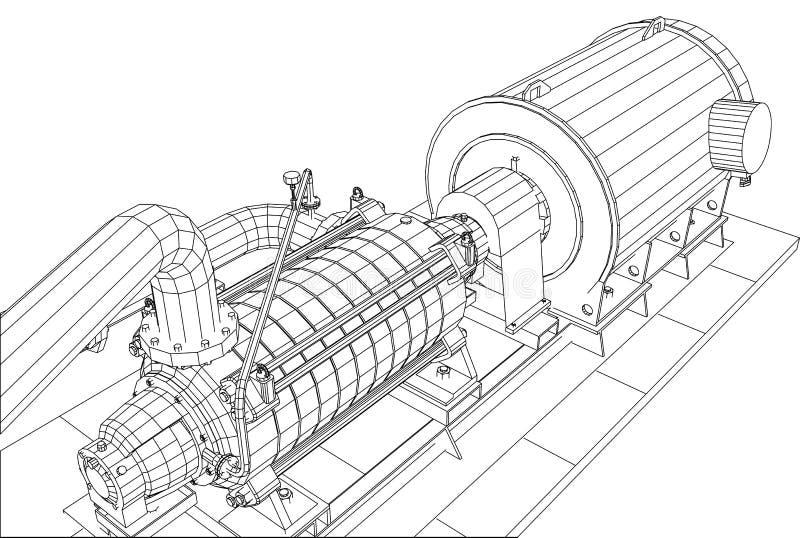 pétrole d'équipement industriel de Fil-cadre et pompe à gaz illustration stock