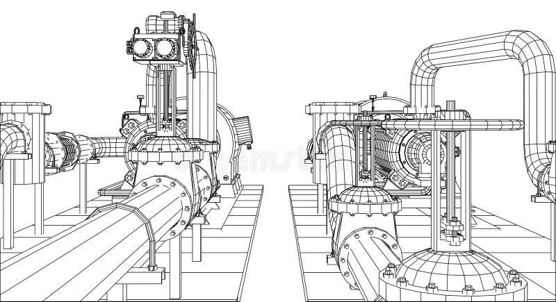 pétrole d'équipement industriel de Fil-cadre et pompe à gaz illustration de vecteur