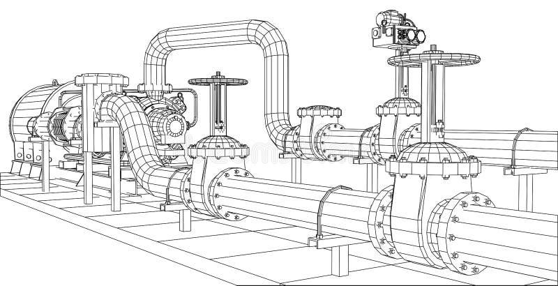 pétrole d'équipement industriel de Fil-cadre et pompe à gaz illustration libre de droits