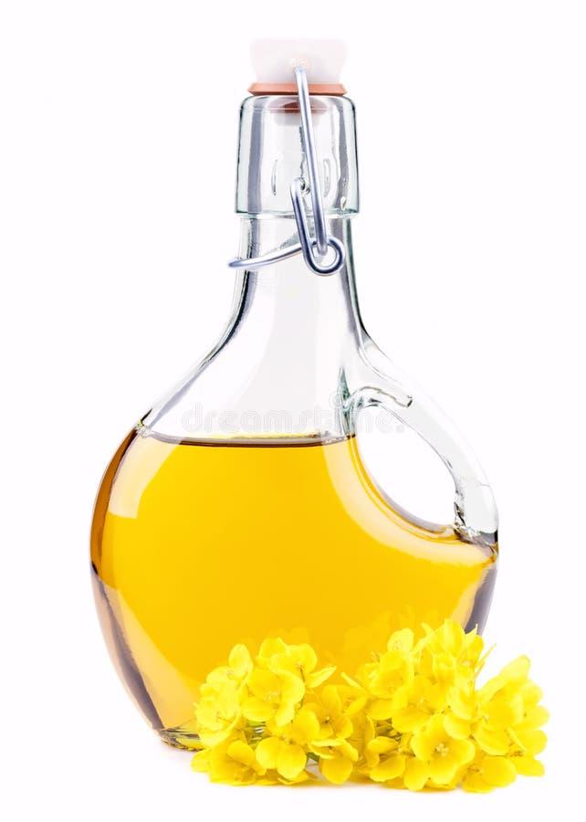 Pétrole dans une bouteille avec des fleurs de graine de colza photographie stock