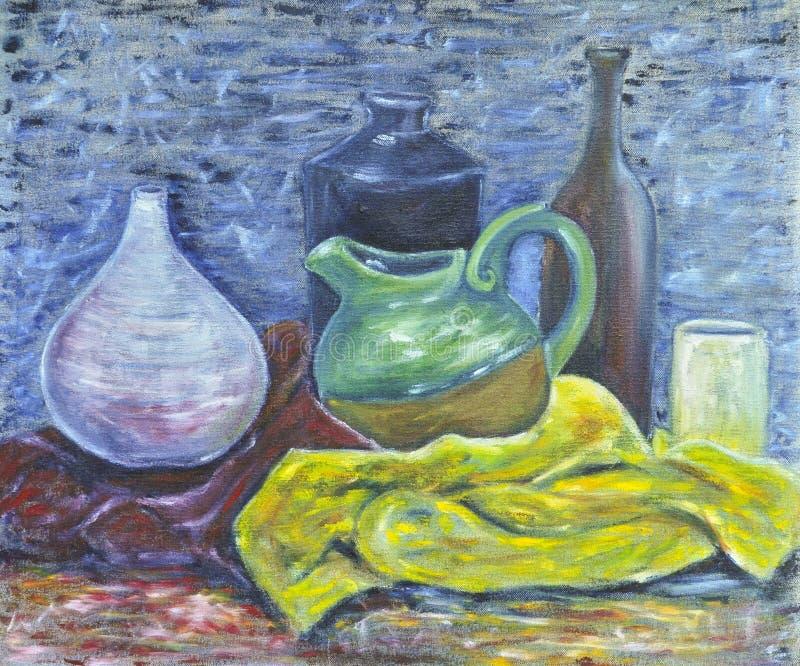 Pétrole initial de toile toujours la durée de la poterie photographie stock