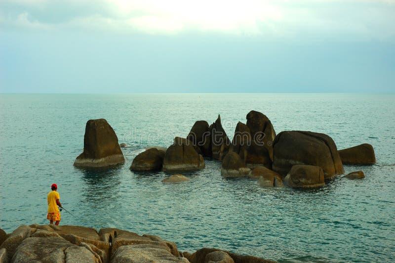 Pêchant dans le paradis sur l'île de Ko Samui, la Thaïlande. images stock