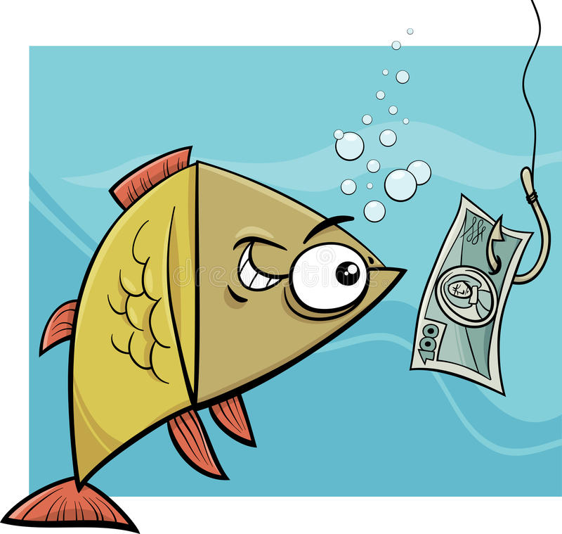 Pêche avec l'illustration de bande dessinée d'argent illustration stock