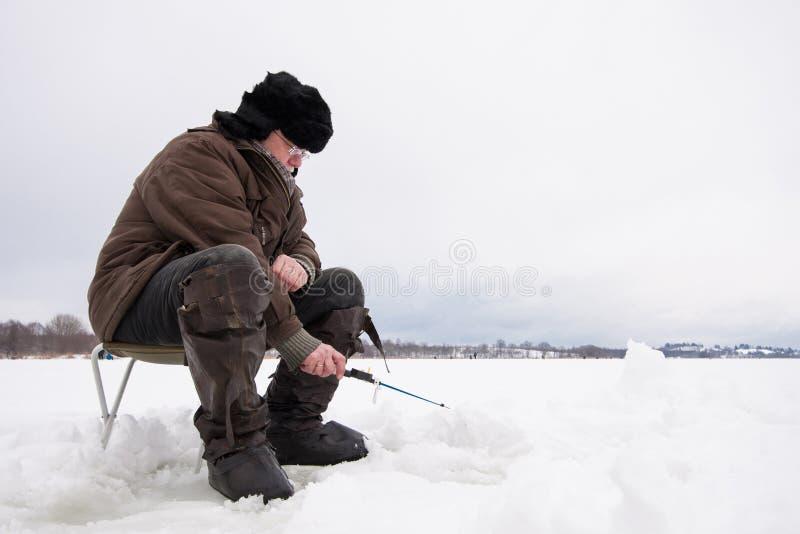 Pêche d'hiver photo libre de droits