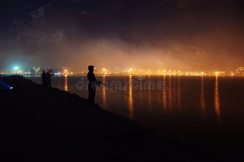 Pêche dans le brouillard image libre de droits