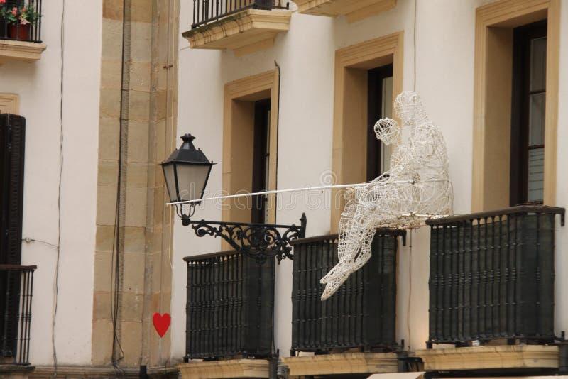 Pêche de l'amour d'un balcon photo libre de droits