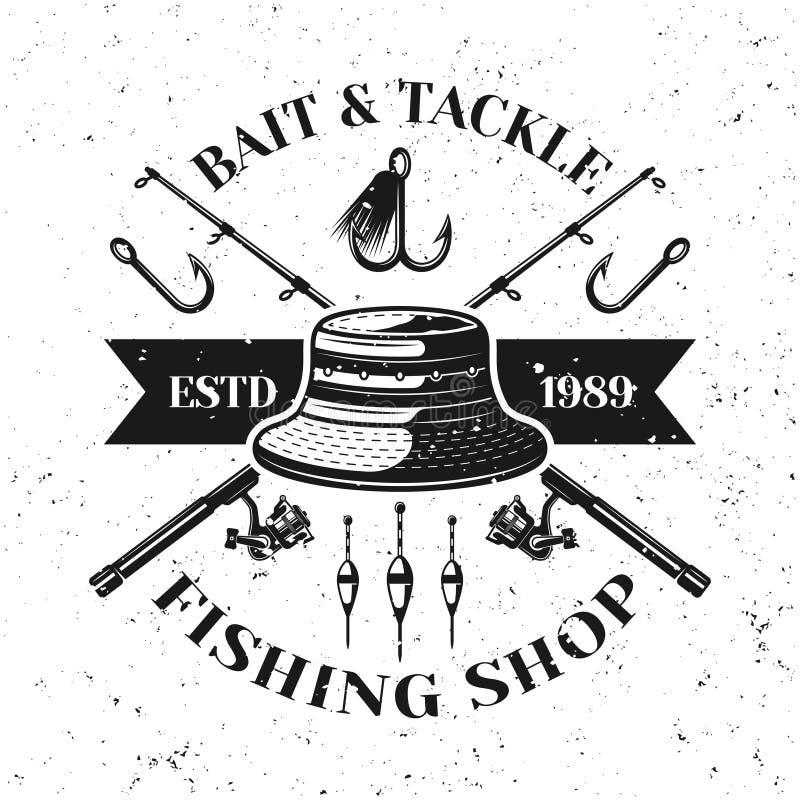 Pêche de l'emblème de vecteur de magasin avec le chapeau de pêcheur illustration de vecteur
