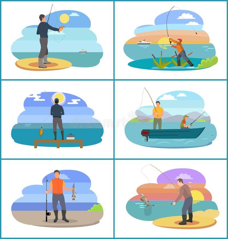 Pêche de l'ensemble de personnes à l'illustration de vecteur de plage illustration libre de droits