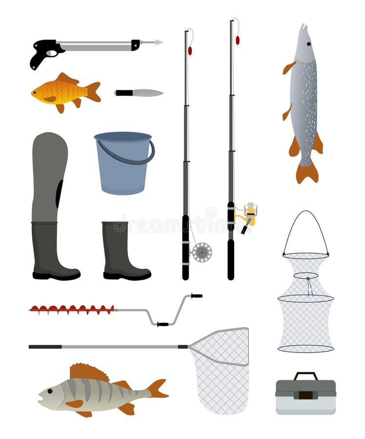 Pêche de l'illustration de vecteur d'ensemble d'icône de fabricants illustration de vecteur