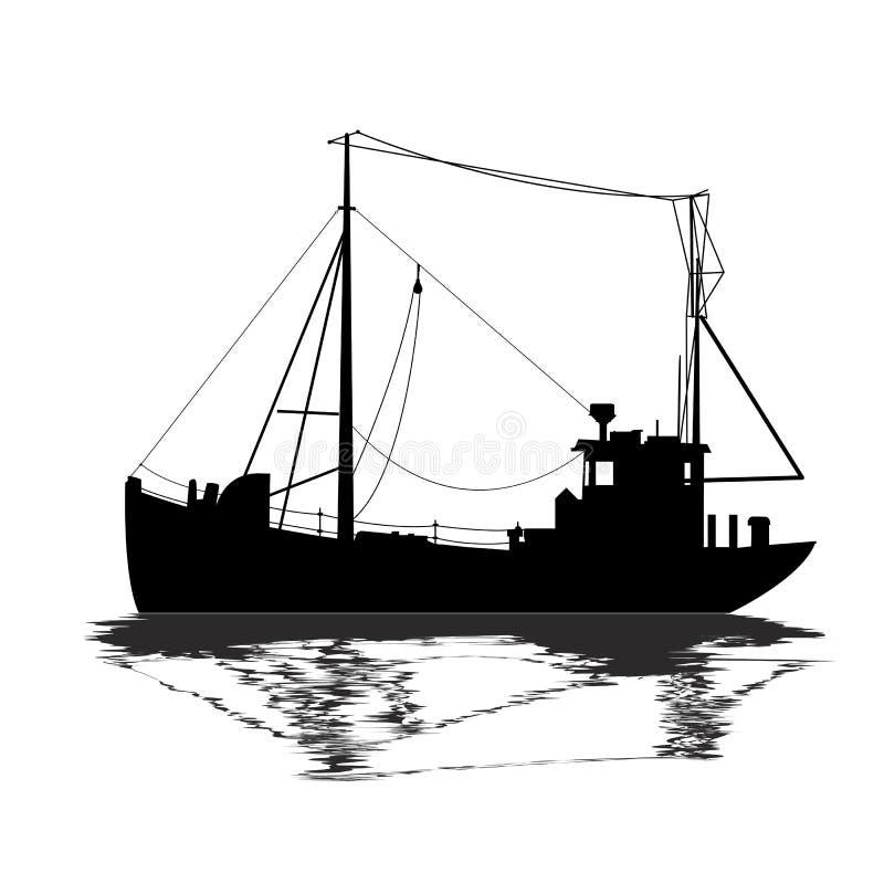 Pêche de la silhouette de bateau illustration libre de droits