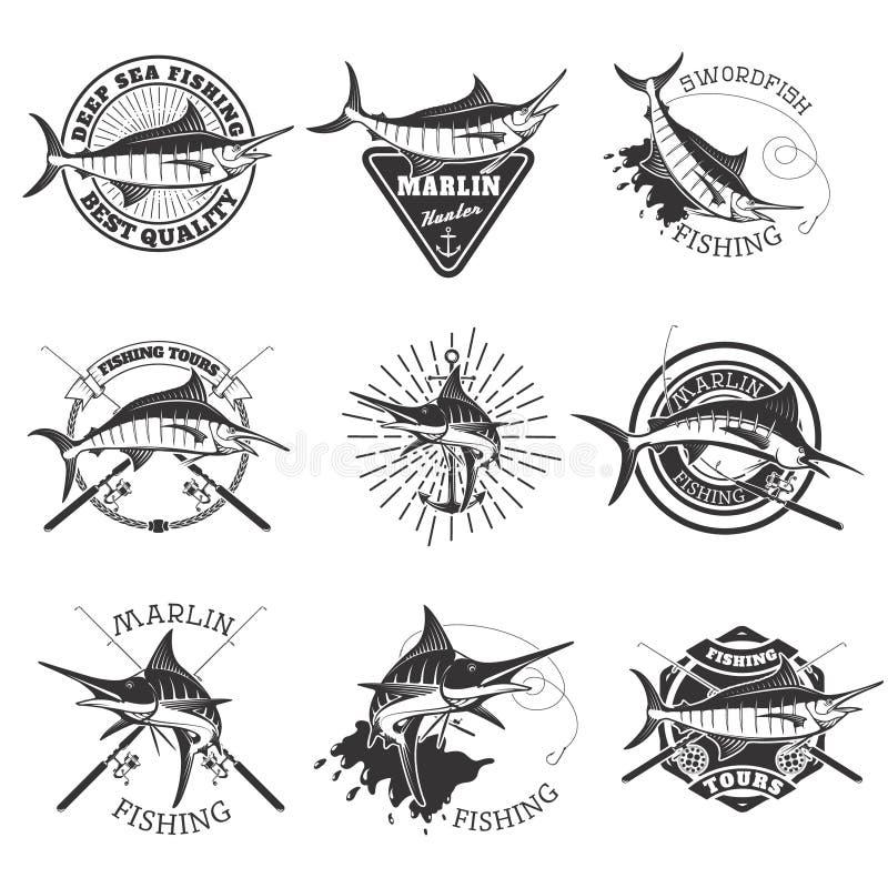 Pêche de Marlin Icônes d'espadons Pêche maritime profonde Elemen de conception illustration de vecteur