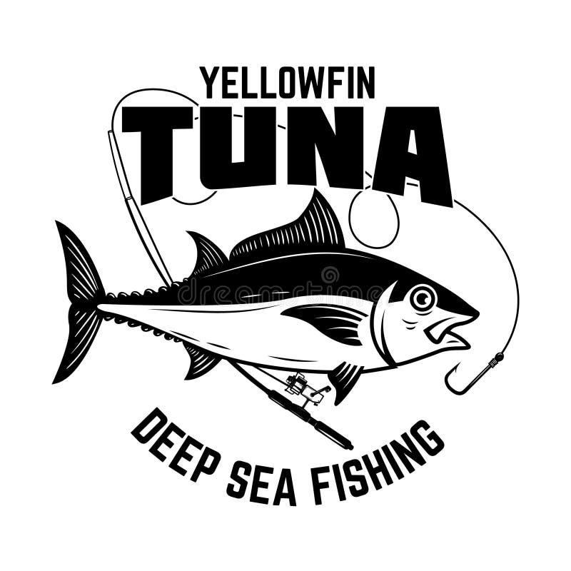 Pêche de thon Thon de truite saumonnée et canne à pêche Élément de conception pour le logo, label, emblème, signe, affiche, carte illustration de vecteur