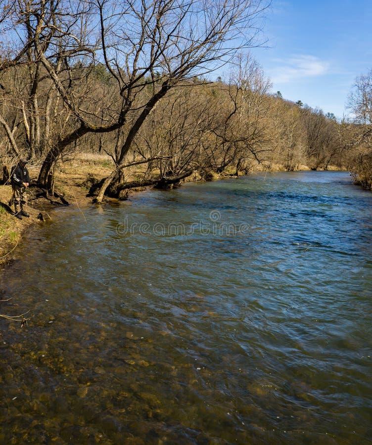 Pêche de truite sur Jackson River - 2 photos stock