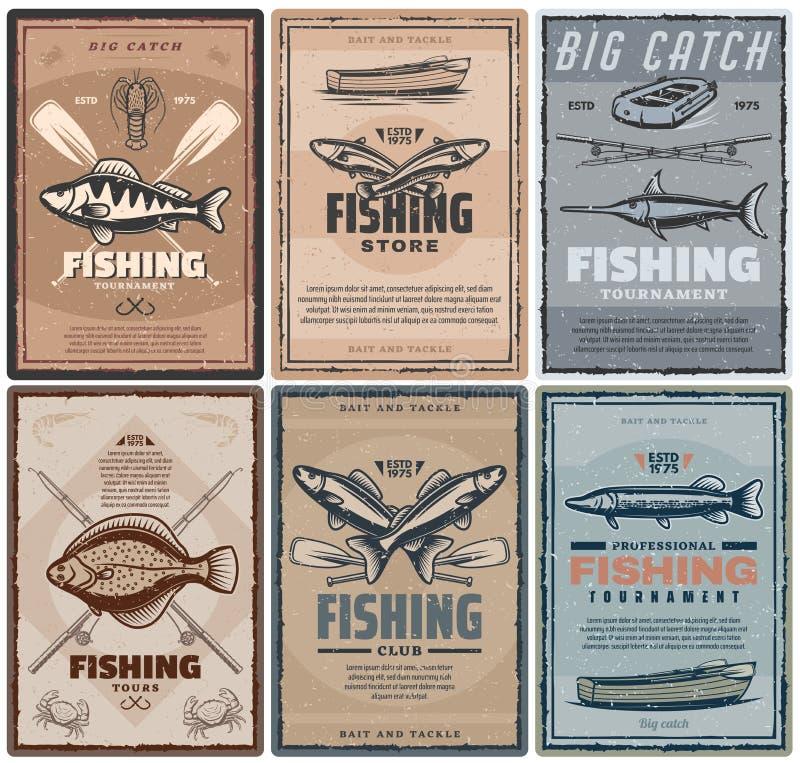 Pêche des visites de sport de magasin ou de pêcheur illustration libre de droits