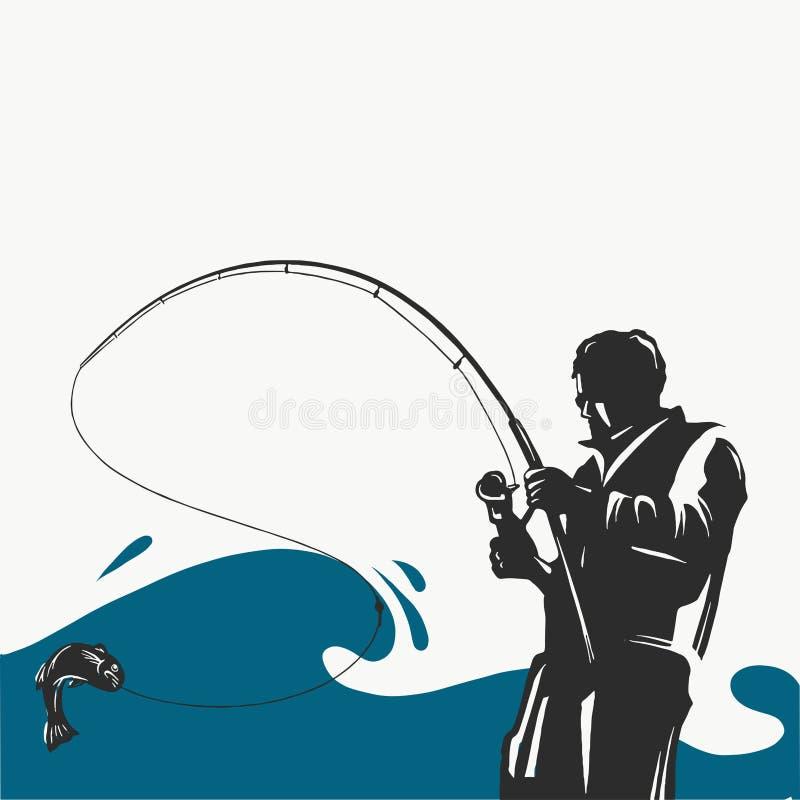 Pêche du label avec un brochet et d'un pêcheur dans un bateau Tous les éléments editable illustration stock