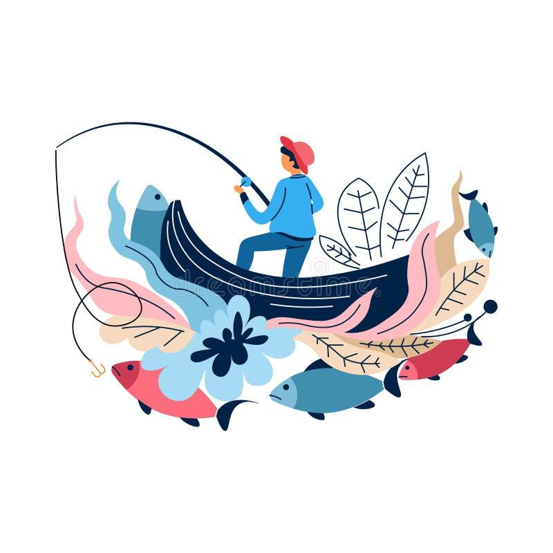 Pêche du pêcheur de sport dans le bateau avec les poissons de capture de tige illustration stock