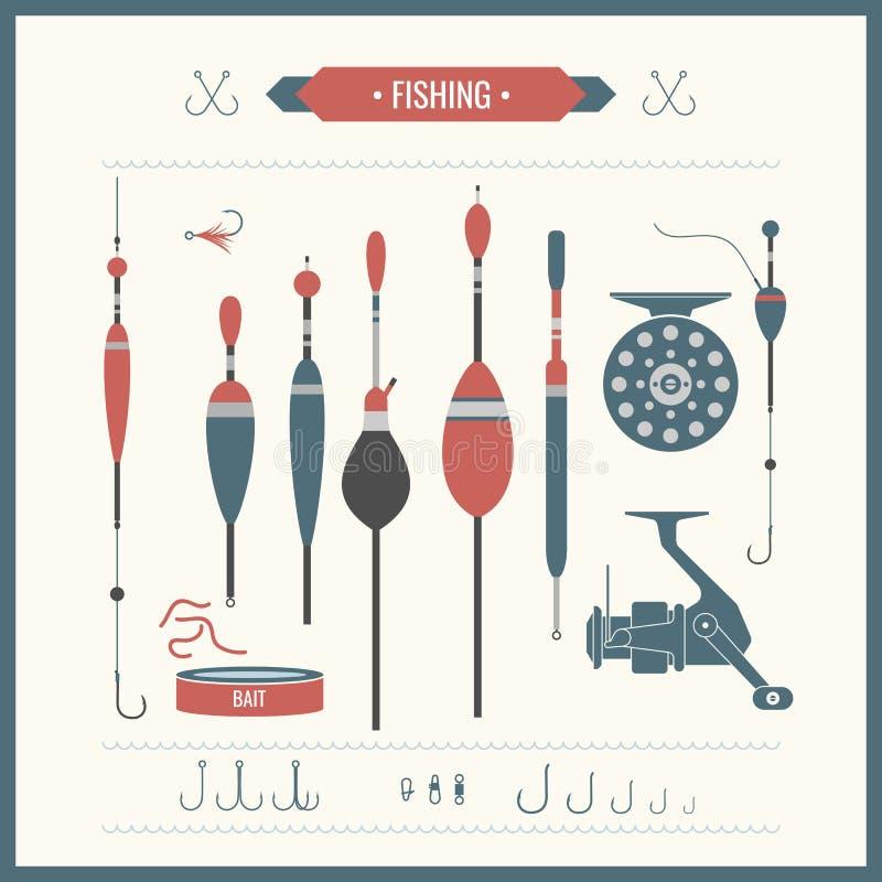 pêche du palan réglé illustration stock