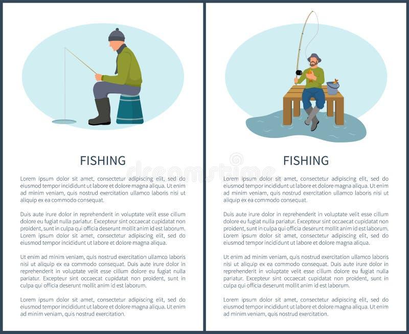 Pêche en été et dans des icônes de vecteur d'hiver illustration stock