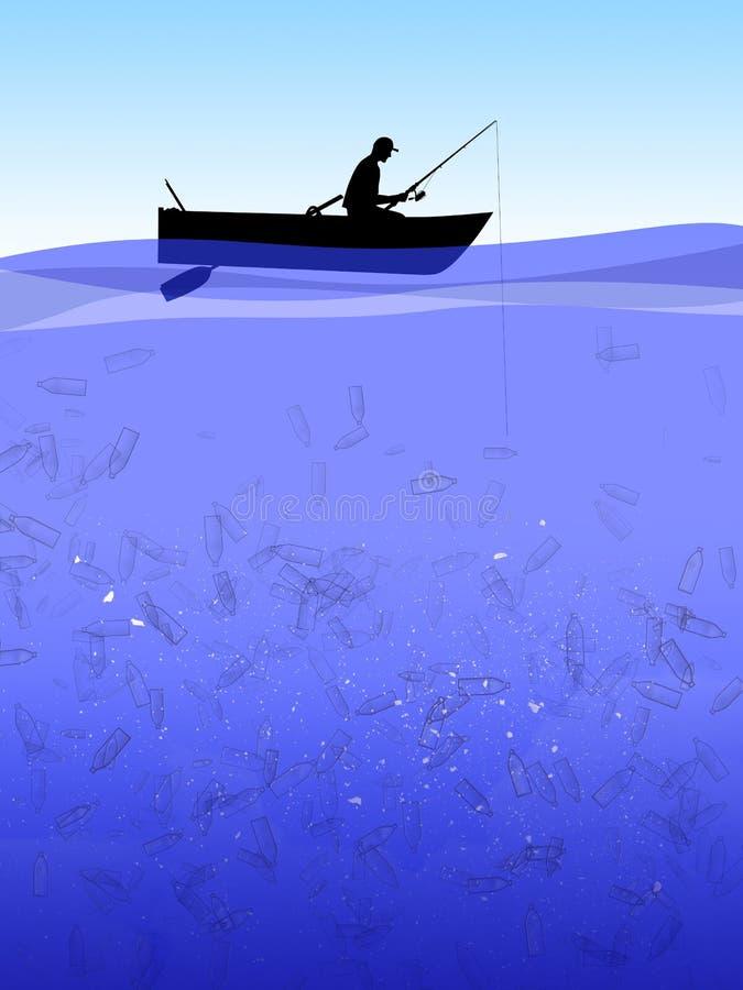 P?che en mer en plastique illustration de vecteur