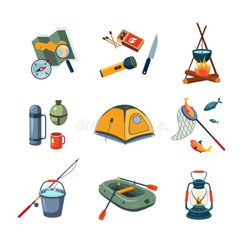 Pêche et équipement de camping dans la conception plate illustration libre de droits