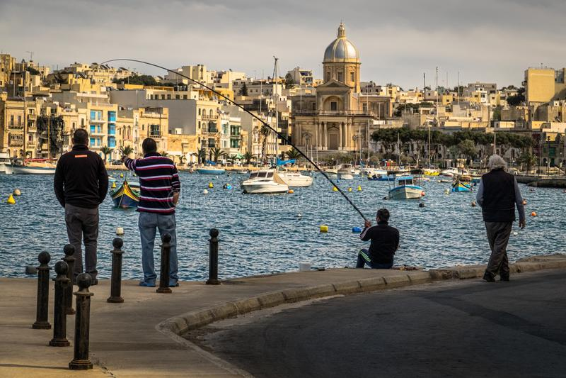 Pêche maltaise Quay de Kalkara, Birgu, Bormly, La Valette malte photographie stock