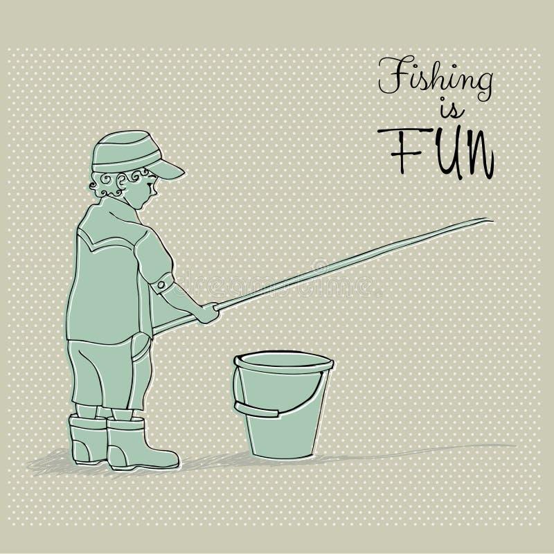 Pêche mignonne de garçon illustration de vecteur