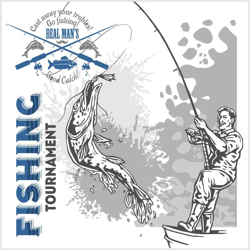 Pêche - pêcheur avec une canne à pêche sur le fond grunge illustration de vecteur