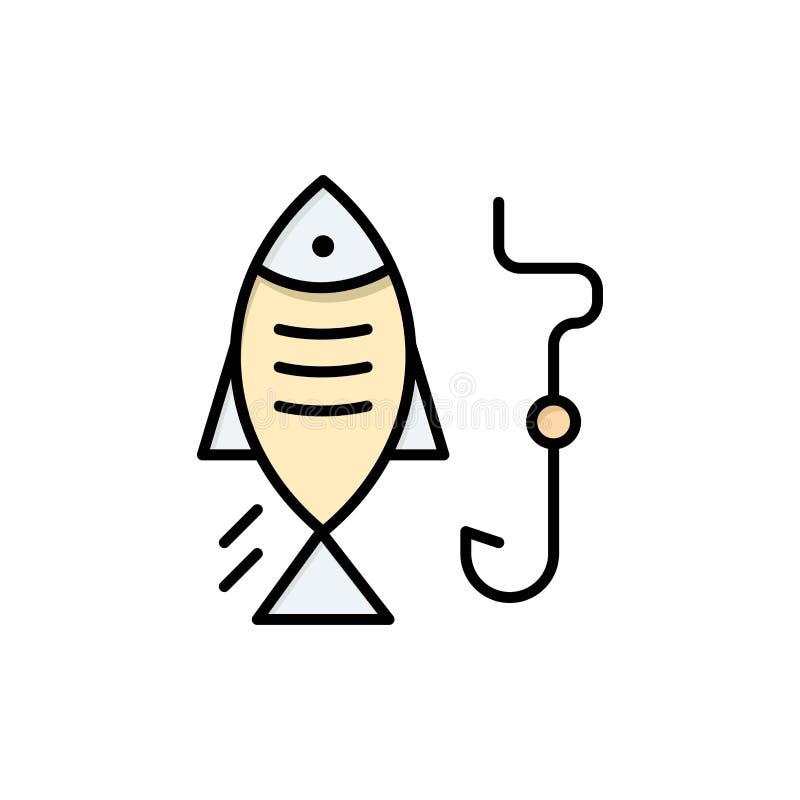 Pêche, poisson, crochet, chassant l'icône plate de couleur Calibre de bannière d'icône de vecteur illustration stock