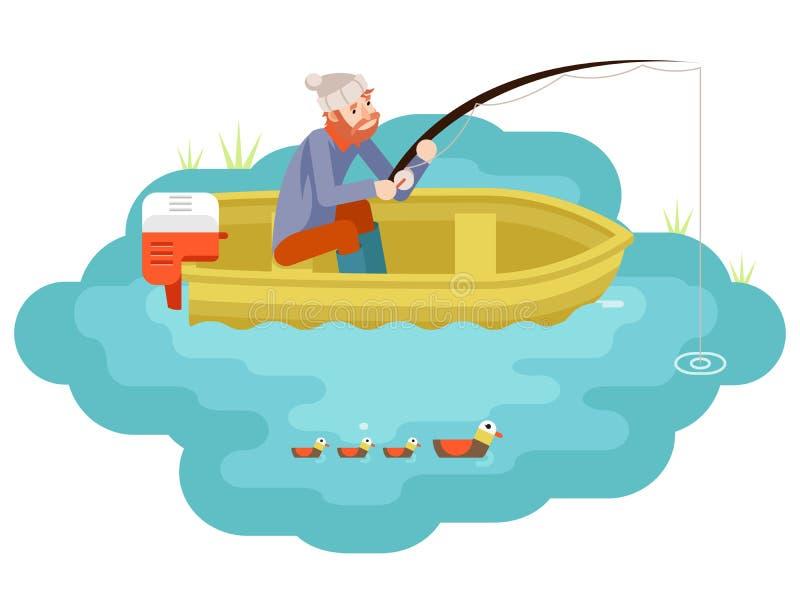 Pêcheur adulte de pêche de lac avec pêcher le calibre plat de conception d'icône isométrique de caractère de Rod Boat Birds Isola illustration stock