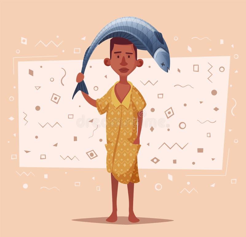 Pêcheur africain avec des poissons Illustration de vecteur de dessin animé illustration de vecteur