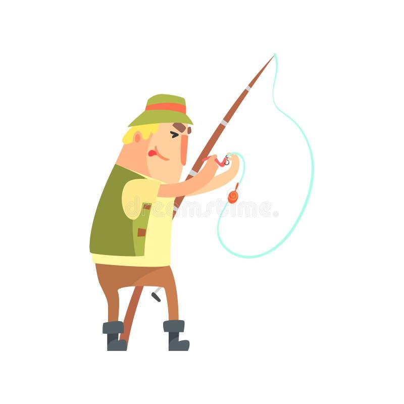 Pêcheur amateur In Khaki Clothes plaçant une amorce de ver sur le caractère de vecteur de bande dessinée de crochet et son illust illustration stock
