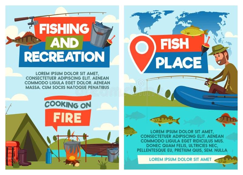 Pêcheur attrapant et faisant cuire dans le camp illustration stock