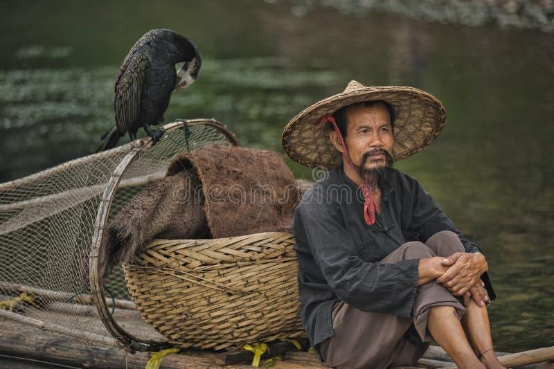 Pêcheur aux cormorans sur la rivière Lijiang image libre de droits