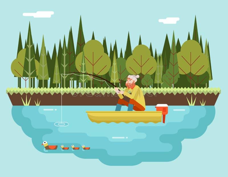 Pêcheur avec canne à pêche dans la forêt de bateau et illustration de vecteur