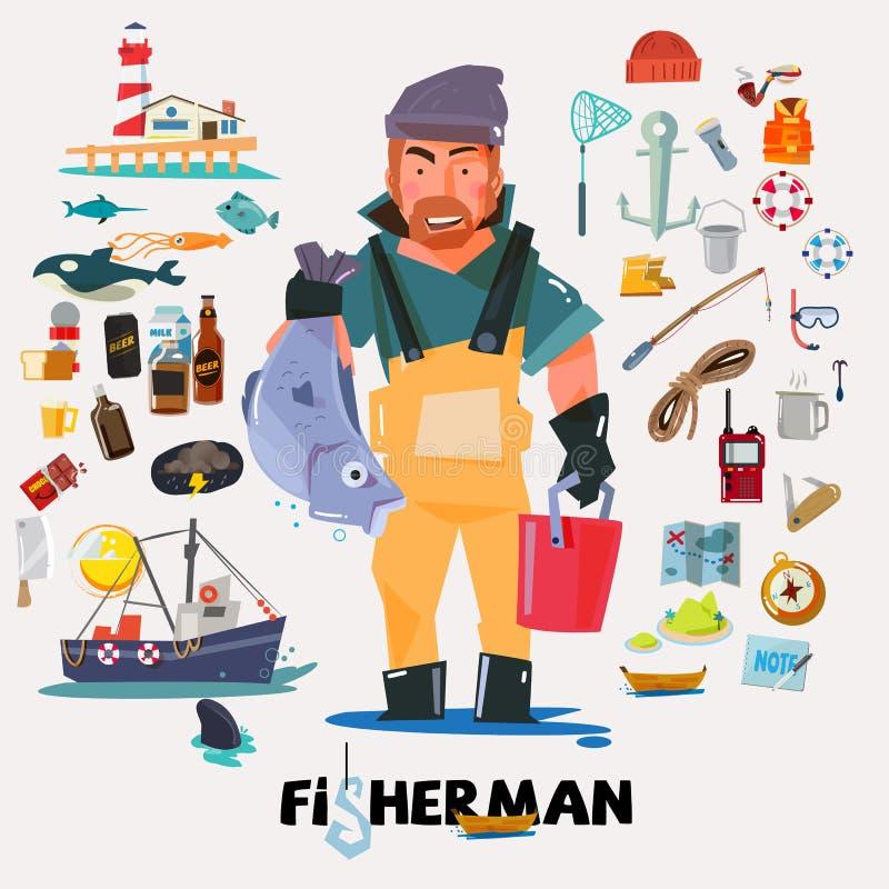 Pêcheur avec de grands poissons à disposition ensemble d'icône de pêche illustration stock