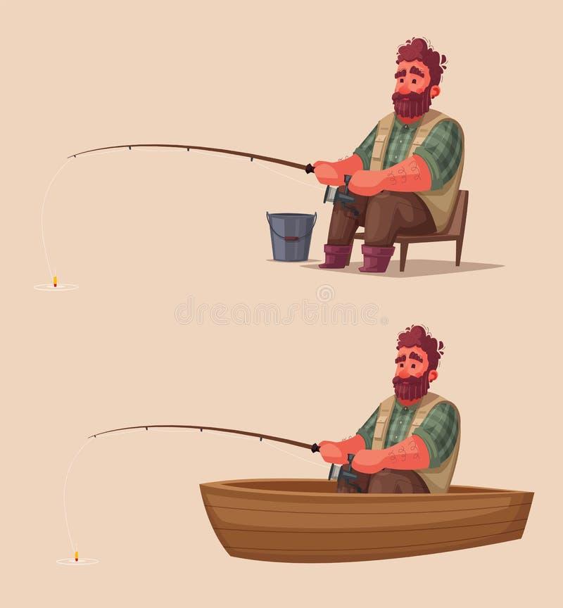 Pêcheur avec la canne à pêche Illustration de vecteur de dessin animé illustration stock