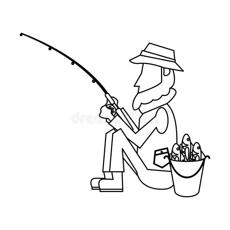 Pêcheur avec la tige en noir et blanc illustration de vecteur