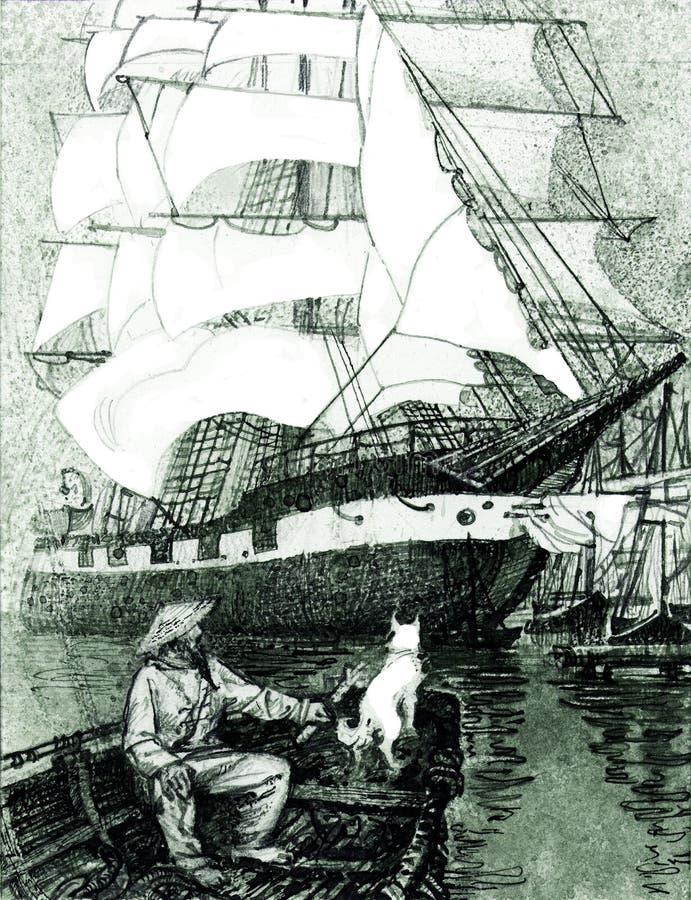 Pêcheur avec le chien dans le bateau et le grand bateau de navigation illustration stock