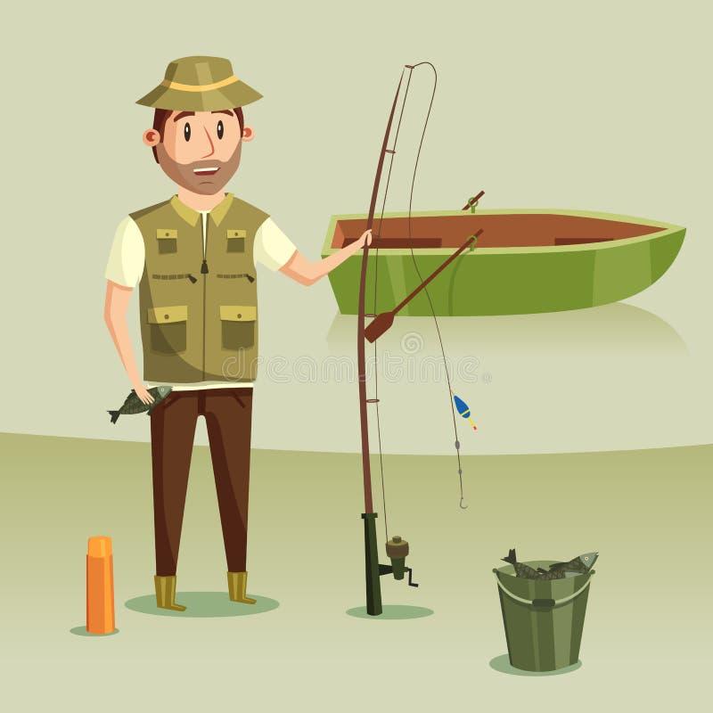 Pêcheur avec le crochet de crucian dans le seau, la tige ou rotation avec la bobine et l'angle ou le crochet, le flotteur ou le b illustration libre de droits