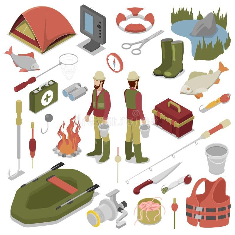 Pêcheur avec les poissons, le Rod, le crochet et le bateau illustration libre de droits