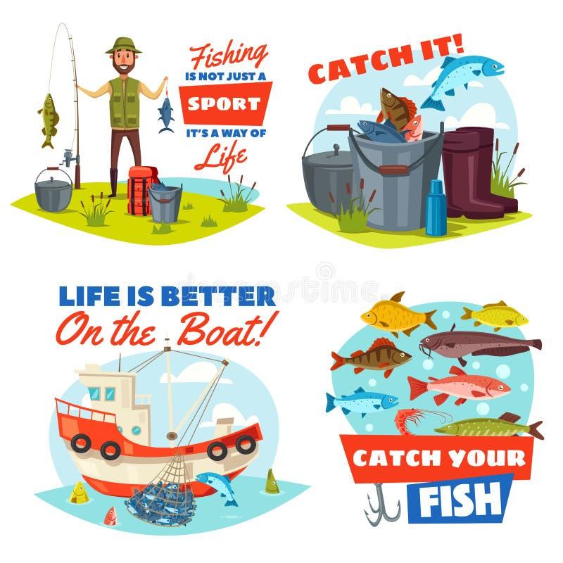 Pêcheur, bateau de pêche et icônes de crochet de poissons illustration de vecteur