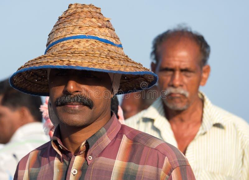 Pêcheur chez Mararikulam Kerala photo stock