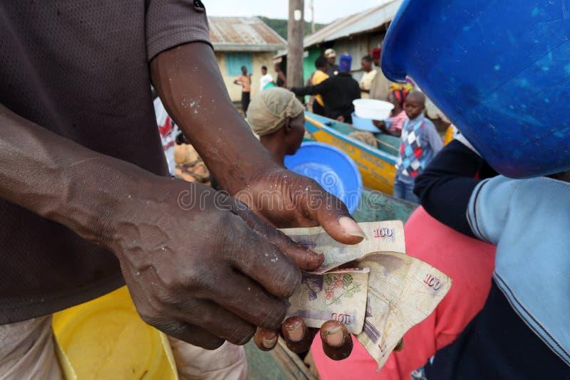 Pêcheur comptant l'argent photographie stock libre de droits